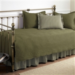 Twin size 5-Piece Daybed Cover Set in Aloe Green 100-Percent Cotton