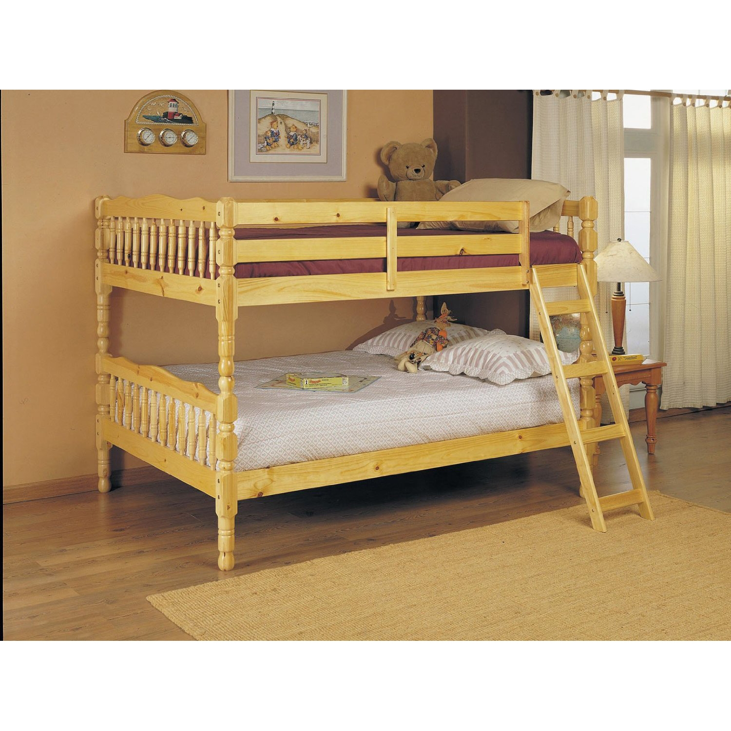Picture of: Full Over Full Bunk Bed With Ladder In Natural Light Wood Finish Fastfurnishings Com