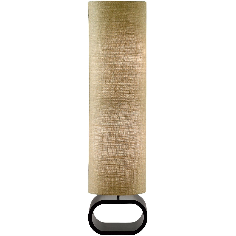 Cylinder Shape Medium Brown Burlap Floor Lamp with Bent Wood Base ...