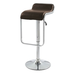 Modern Swivel Adjustable Height Bar Stool with Brown Leatherette Seat
