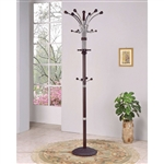 Wood and Metal Coat Rack Hat Stand with Hooks on Top and Middle