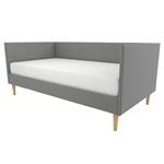 双世纪中期现代灰色亚麻软垫沙发床