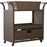 Outdoor Sturdy Resin Wicker Serving Bar Cart with Tray Brown Rattan
