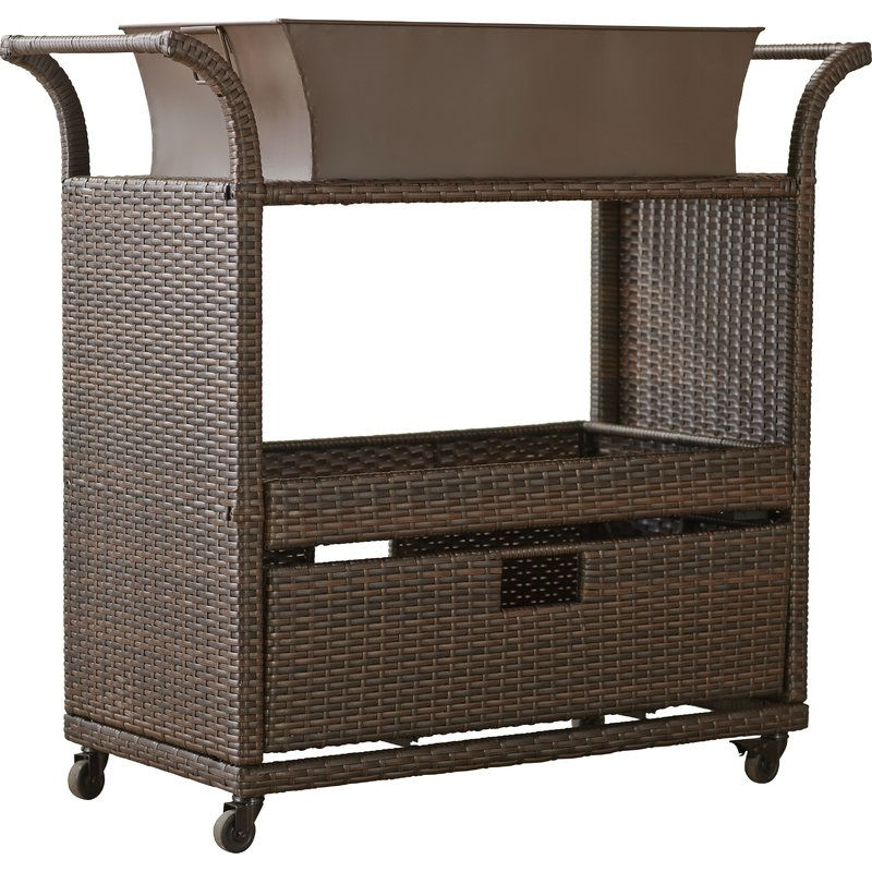 Outdoor Sturdy Resin Wicker Serving Bar Cart With Tray Brown Rattan Fastfurnishings Com