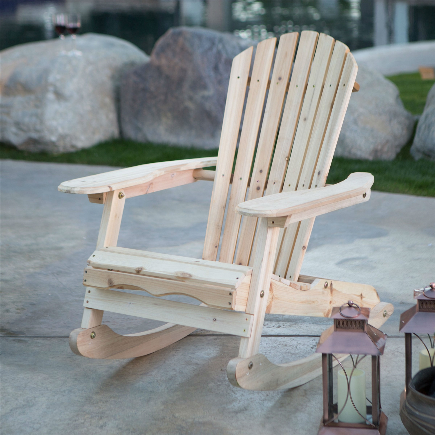 patio porch all weather indoor outdoor natural adirondack rocking chair - Adirondack Rocking Chair