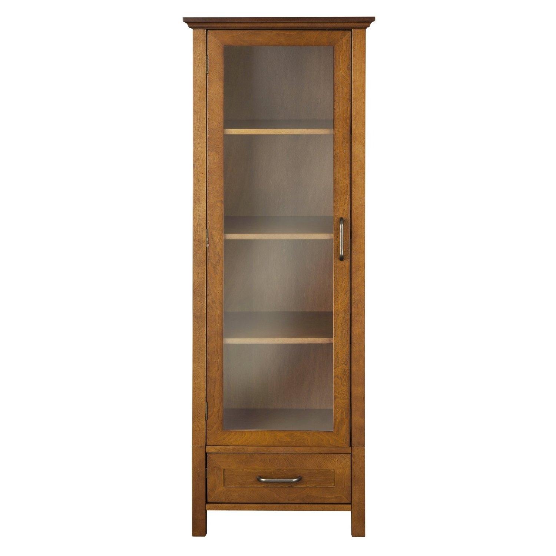 Oak Finish Linen Tower Glass Door Bathroom Storage Cabinet w