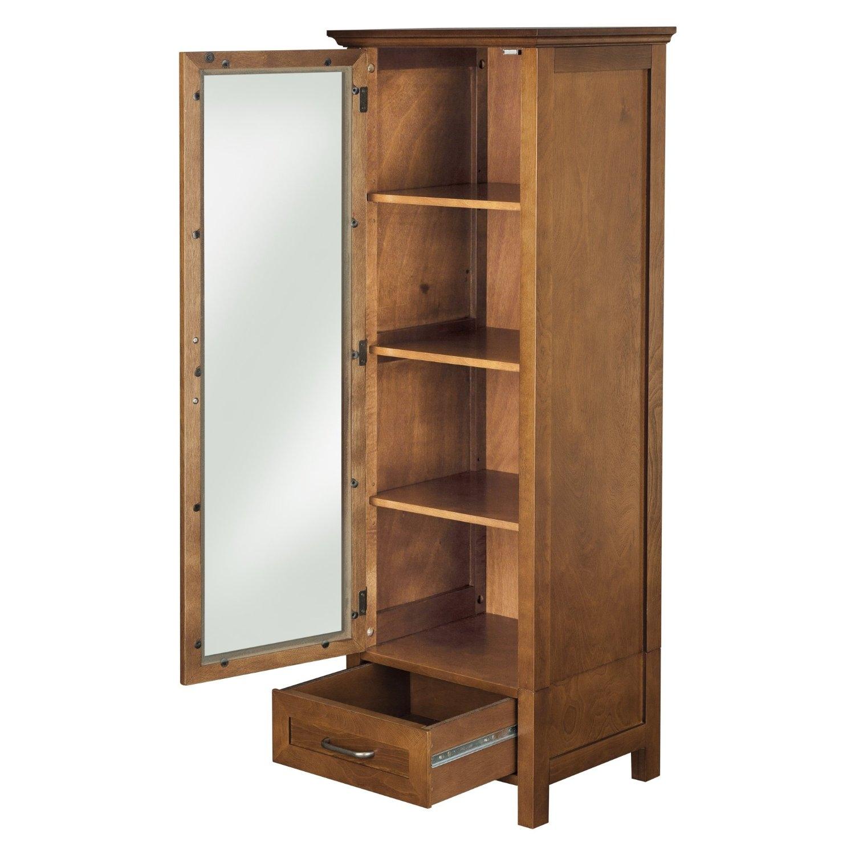 Oak Bathroom Storage Cabinet Oak Finish Linen Tower Glass Door Bathroom Storage Cabinet W