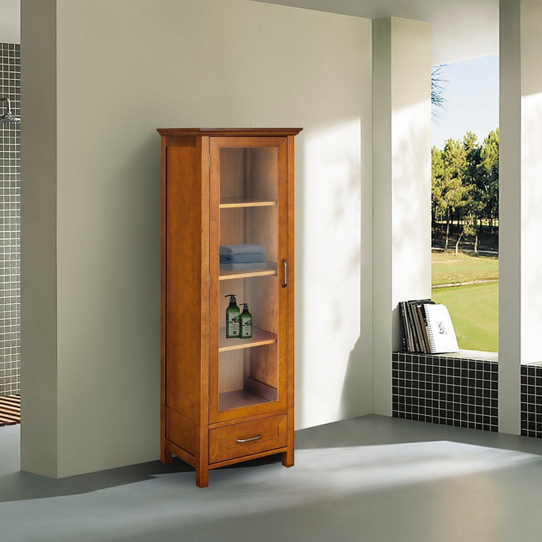Oak Finish Linen Tower Glass Door Bathroom Storage Cabinet w ...