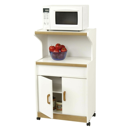 Kitchen Utility Microwave Cart In White & Medium Oak With