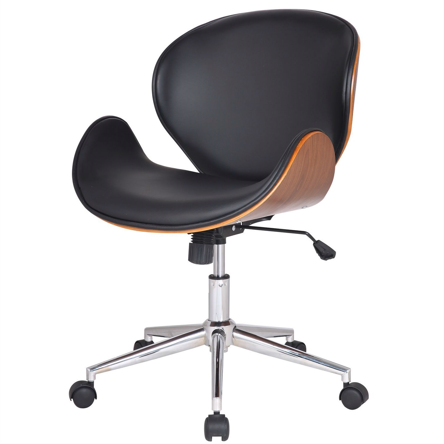 Modern Classic Walnut / Black Faux Leather Office Chair with Curved Seat  sc 1 st  FastFurnishings.com & Modern Classic Walnut / Black Faux Leather Office Chair with Curved ...