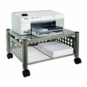 Mobile Heavy Duty Under-desk Printer Stand in Matte Gray
