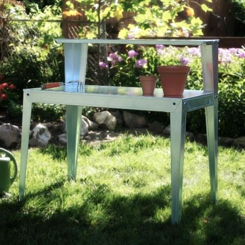 Galvanized Steel Potting Bench Garden Workstation Rack Table