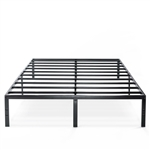 Queen size Sturdy Black Metal Platform Bed Frame with Headboard Attachment Slots