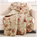 Red Pink Gold Ecru Floral Roses Quilt Throw Blanket in 100% Cotton
