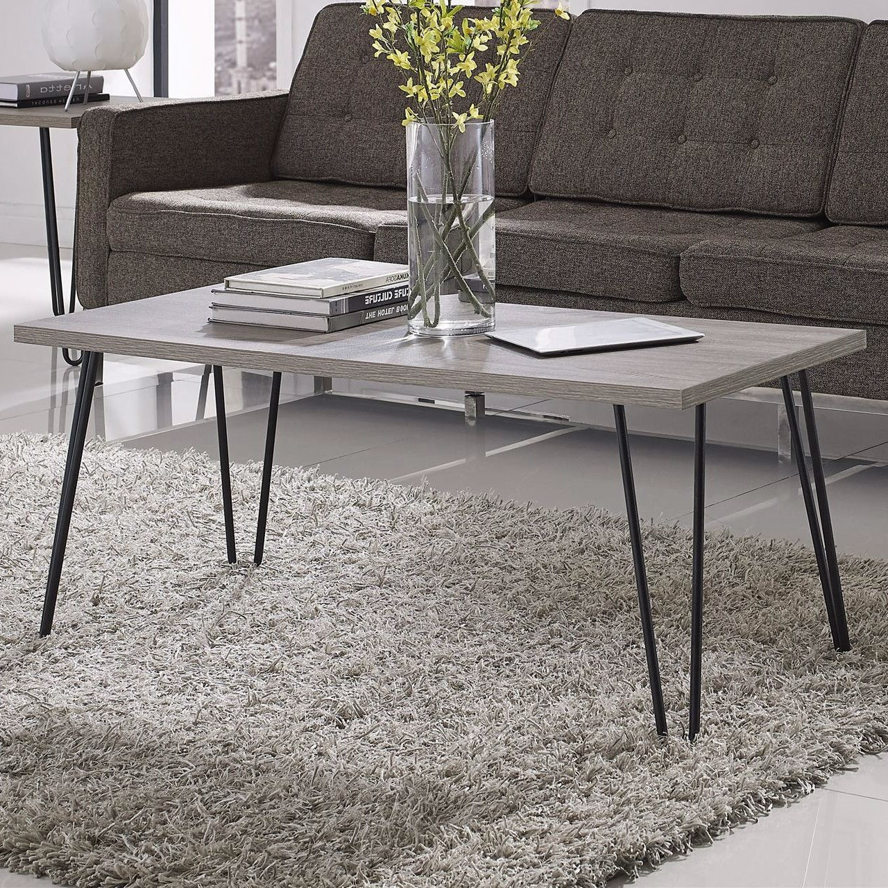 Modern Clic Vintage Style Coffee Table With Wood Top And Metal Legs