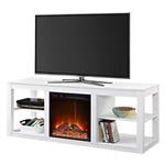 白色现代电壁炉电视柜