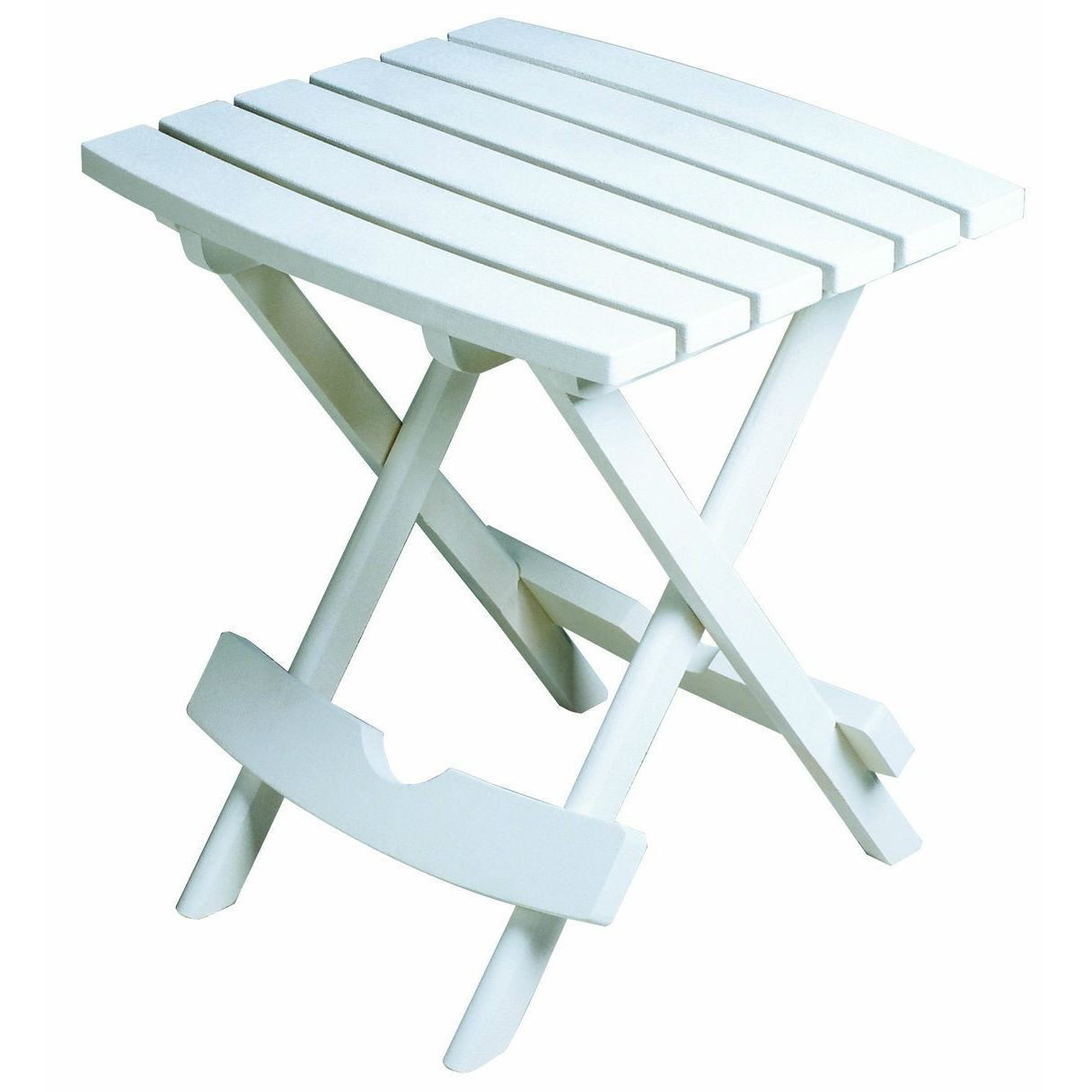 Outdoor Fast Folding Patio Side Table White Weather Resistant Resin