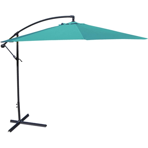 10-Ft Offset Cantilever Patio Umbrella with Aruba Teal Canopy Shade