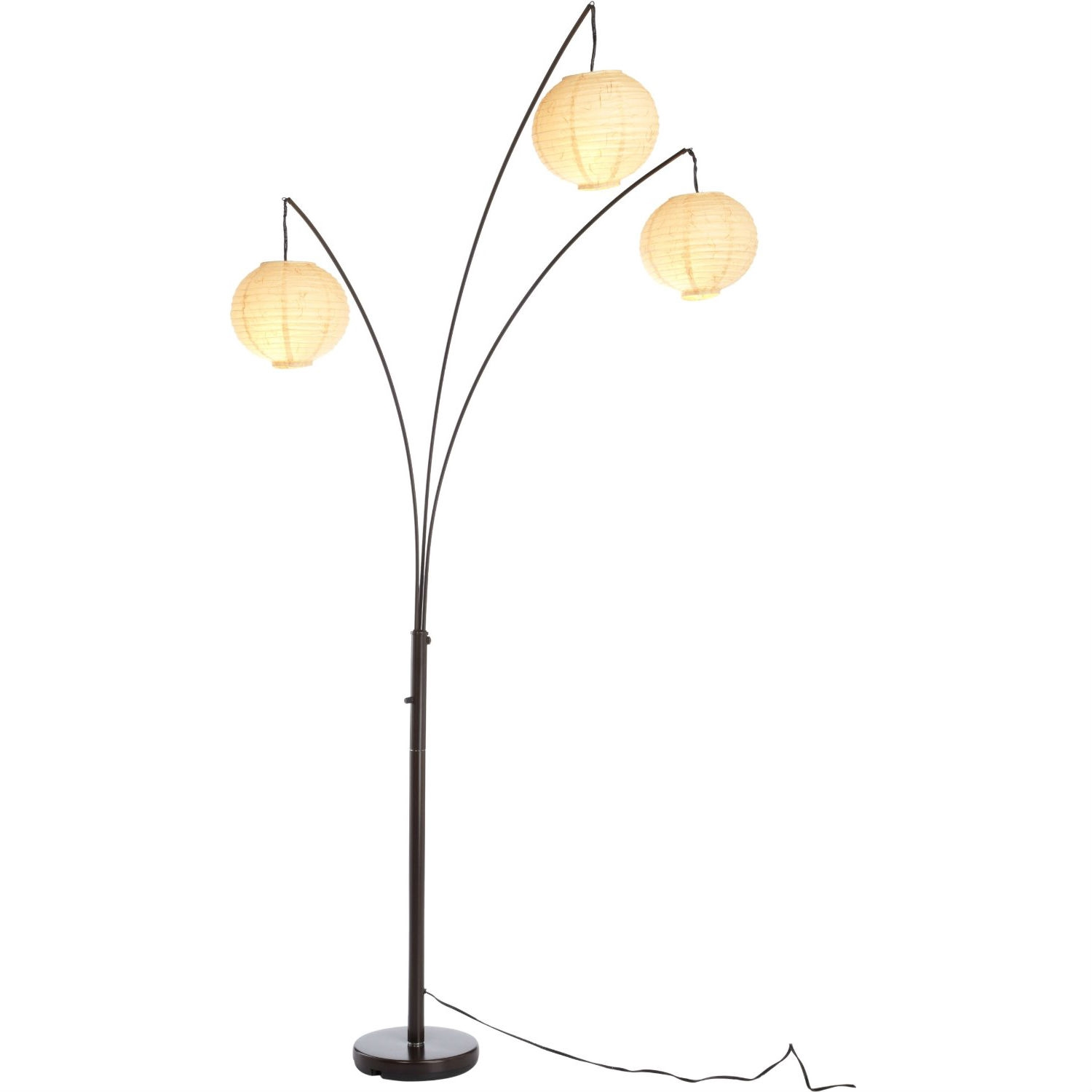 Modern Paper Floor Lamp: Contemporary Floor Lamp With 3-Light Rice Paper Arch