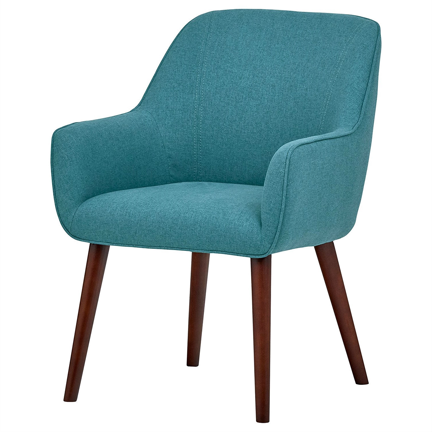 Excellent Modern Mid Century Style Accent Dining Chair With Wood Legs And Aqua Blue Upholstery Ibusinesslaw Wood Chair Design Ideas Ibusinesslaworg