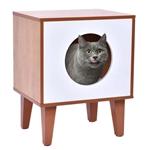 带软垫的现代木和白猫盒宠物床家具