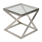 Modern Glass Top Metal Frame End Table Nightstand