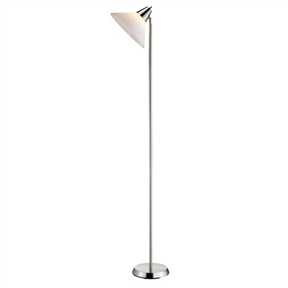 Contemporary Swivel Floor Lamp with Bowl Shade in Satin Steel Finish
