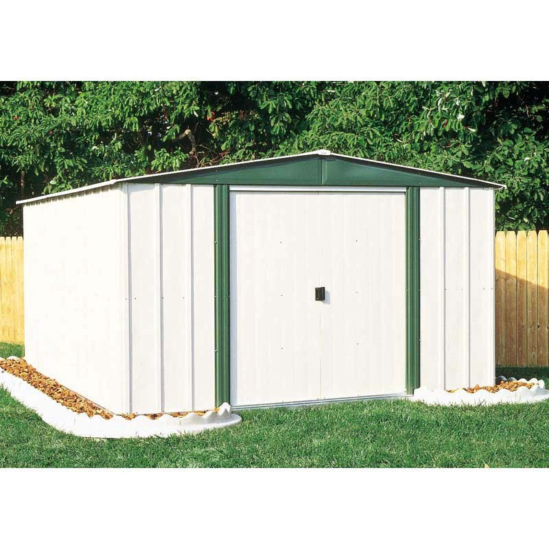 Outdoor 6 Ft X 8 Ft Steel Storage Shed With Sliding Doors In White