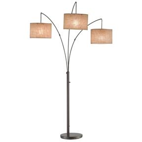 Modern 3 Light Arch Floor Lamp In Antique Bronze With Drum