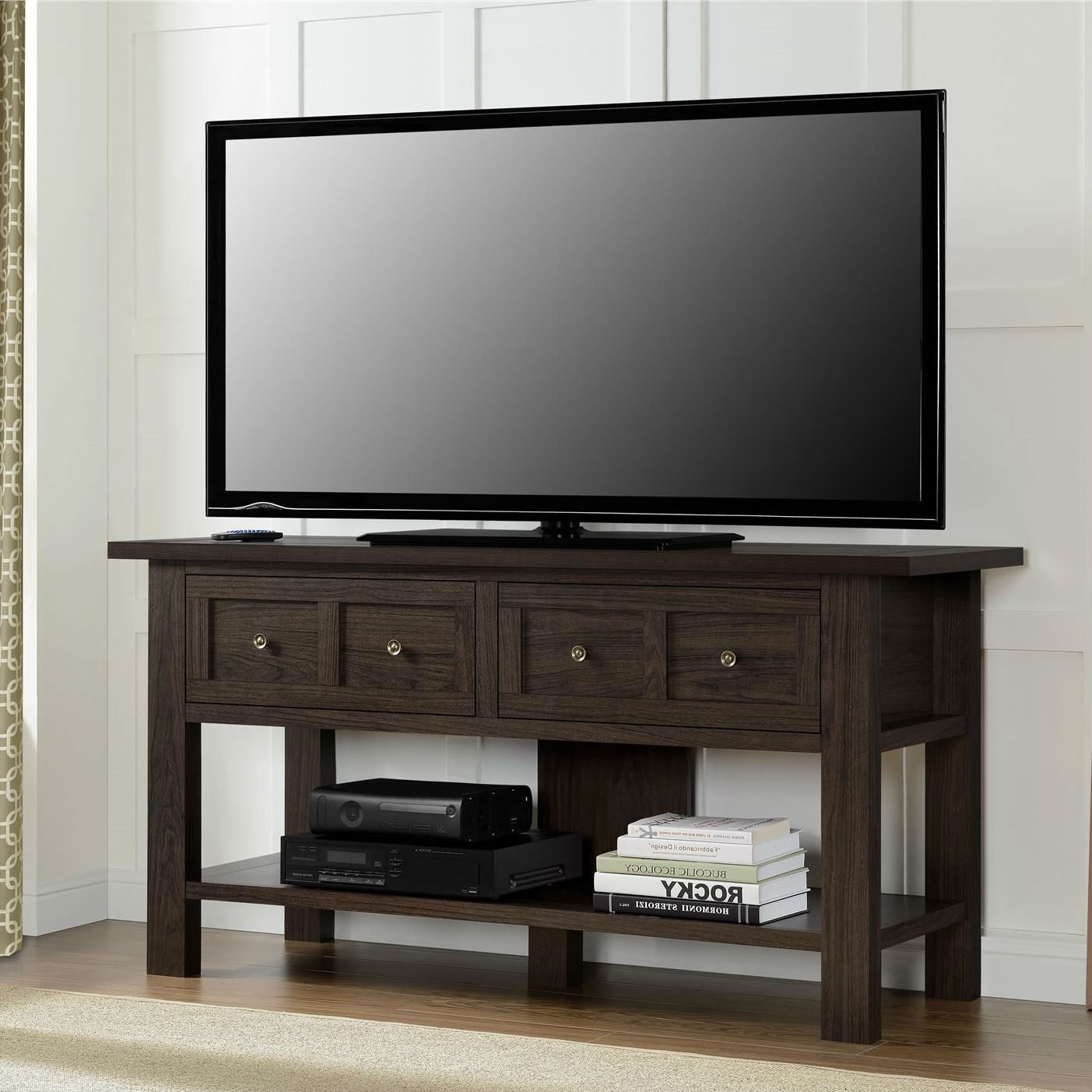 Superior Tv Table With Storage Part - 2: Classic 55-inch TV Stand Versatile Accent Console Table With 2 Storage  Drawers