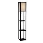 63-inch Black Modern Floor Lamp with Silk Shade