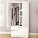White Armoire Bedroom Clothes Storage Wardrobe Cabinet with 2 Drawers