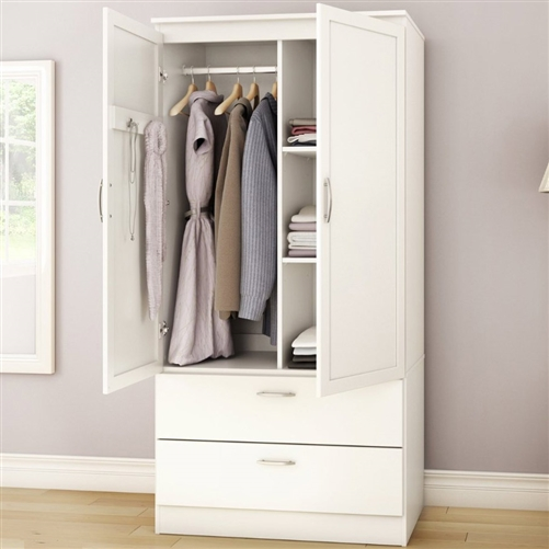 White armoire bedroom clothes storage wardrobe cabinet - Bedroom storage cabinets with drawers ...
