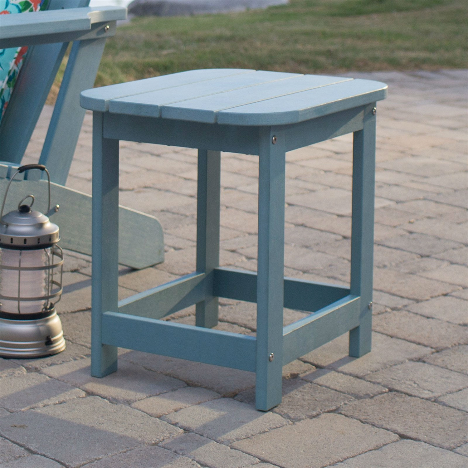 Picture of: Outdoor Deck Patio Side Table In Blue Green Resin Wood Look Finish Fastfurnishings Com