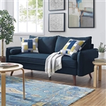 Modern Mid-Century Style Sofa Couch with Wooden Legs in Dark Blue Azure Fabric