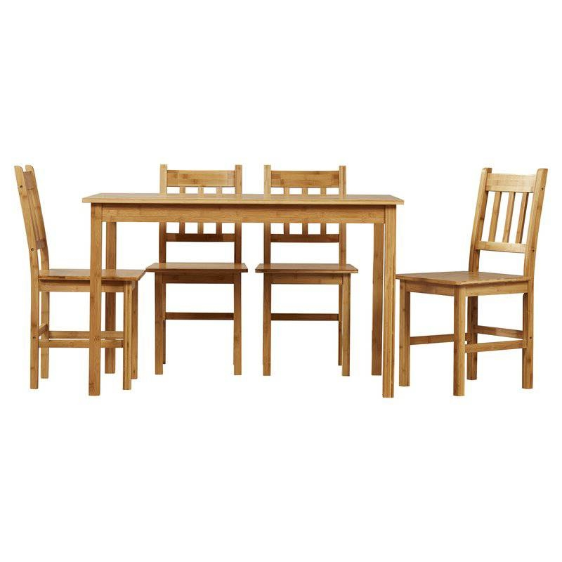 Charming 5 Piece Eco Friendly Solid Bamboo Dining Set