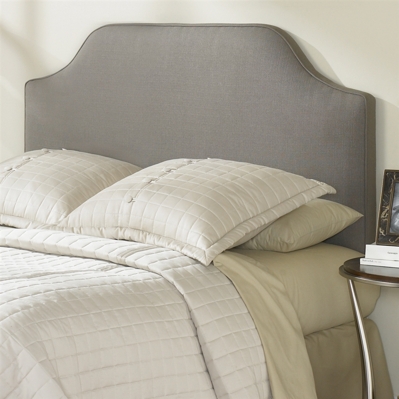 King Size Upholstered Headboard In Dolphin Grey Taupe Polyester