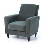 Blue Upholstered Modern Accent Arm Chair with Espresso Wood Legs