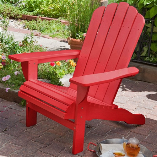 Environmentally Friendly Weather Resistant Eucalyptus Wood Adirondack Chair in Red