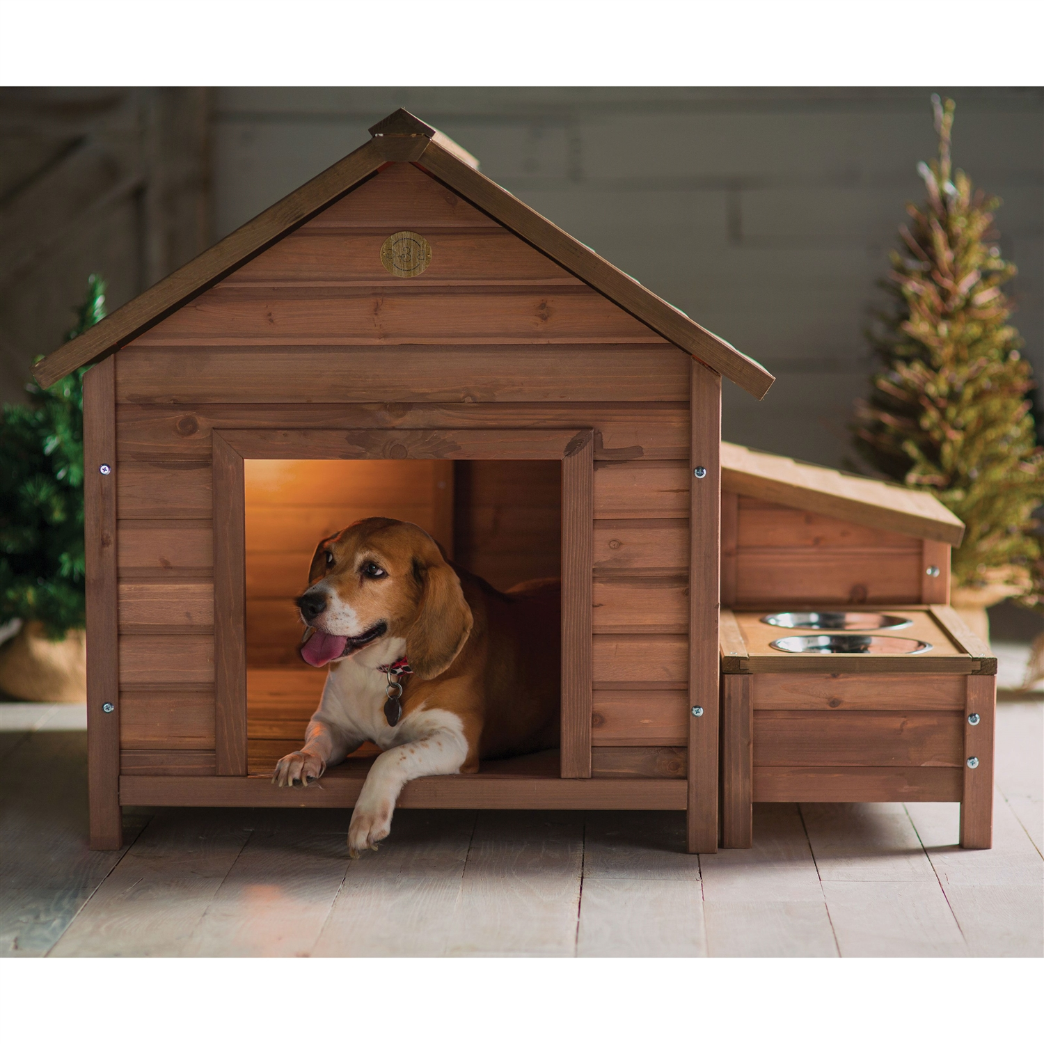 Exceptionnel Solid Wood A Frame Outdoor Dog House With Food Bowl And Storage