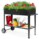 Black Metal Garden Potting Bench with Wheels