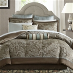 California King 12-piece Reversible Cotton Comforter Set in Brown and Blue