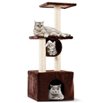 Brown 37 Inch Cat Tree Condo Kitten Play House Scratcher Post