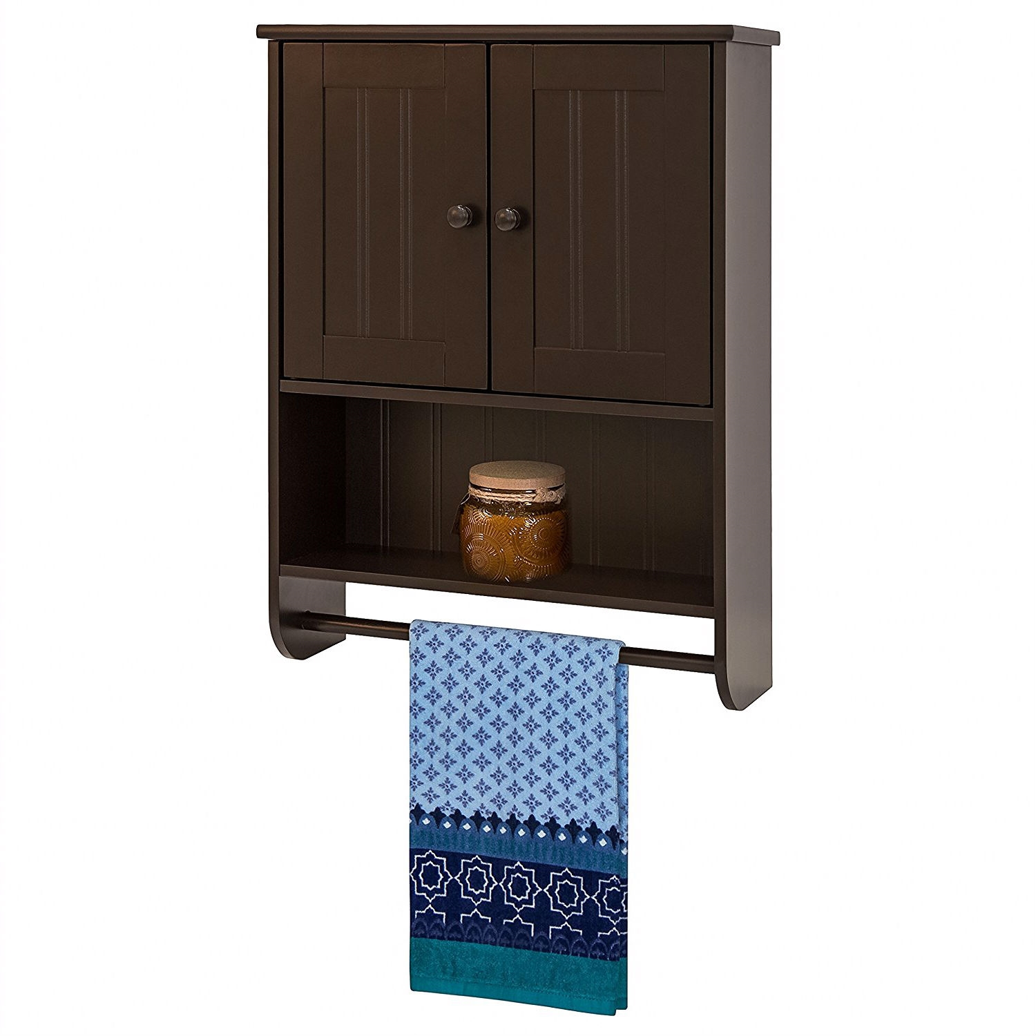 Espresso Bathroom Wall Cabinet Cupboard With Towel Bar