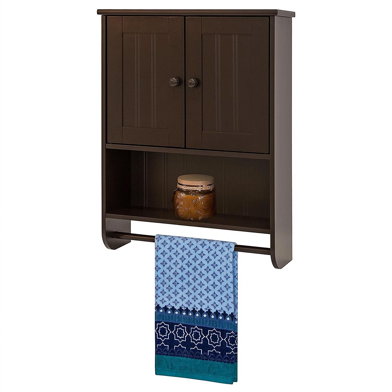Espresso Bathroom Wall Cabinet Cupboard