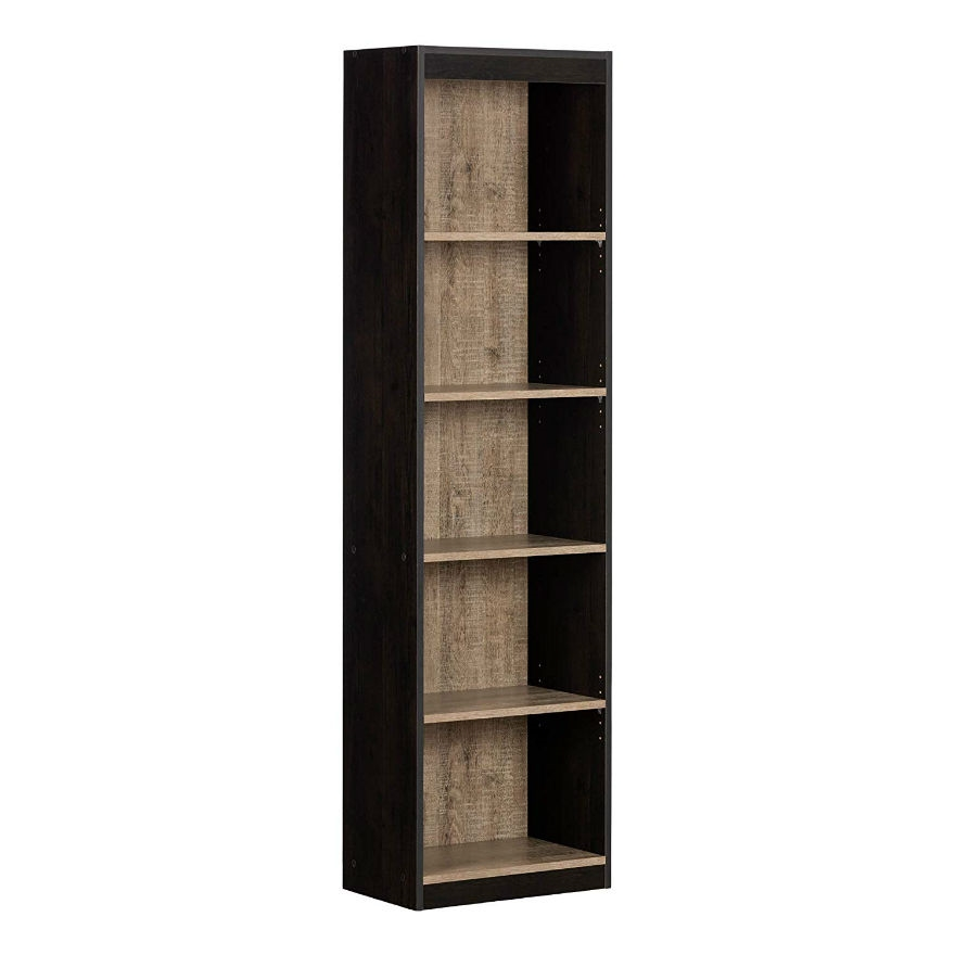 Modern 69 Inch Tall Skinny 5 Shelf Bookcase In Black Wood Finish