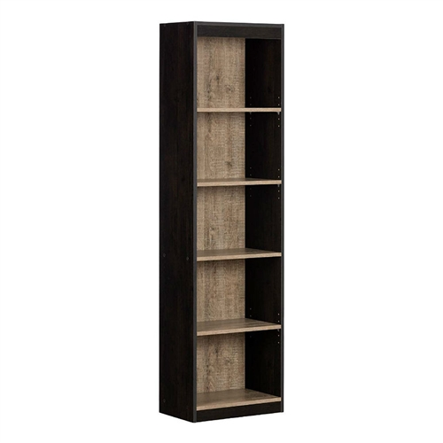 Modern 69-inch Tall Skinny 5-Shelf Bookcase in Black Wood Finish