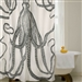 Black and White Octopus Shower Curtain 100-Percent Cotton 72 x 72-inch