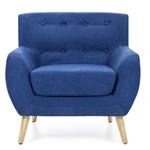 带有世纪中叶现代风格木脚的蓝色亚麻软垫扶手椅