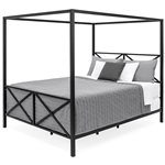 Queen size Modern Industrial Style Canopy Bed Frame in Black Metal Finish